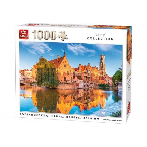 King-Puzzle - Canal Bruges, 1000 Brikker Puslespill